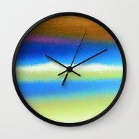 bands Wall Clocks featuring Colour Bands by Brian Raggatt