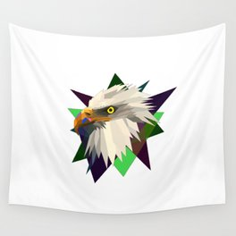 geometrical eagle on black Wall Tapestry