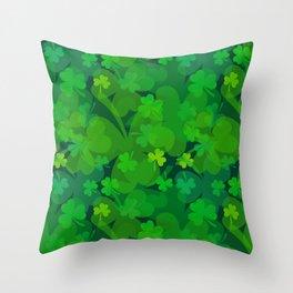 lucky Shamrock - Clovers All Over Throw Pillow