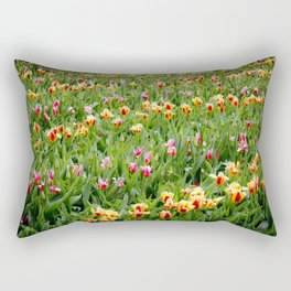 Long View of a Field of Multicolored Tulips in Amsterdam, Netherlands Rectangular Pillow