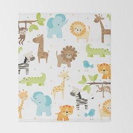 Jungle Animals Throw Blanket