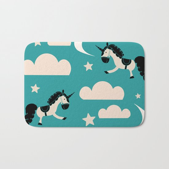 Unicorn Teal Bath Mat