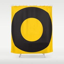 Sans Serif O. Black on Yellow. Shower Curtain