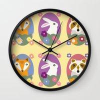 woodland Wall Clocks featuring Woodland by LeaLea Rose