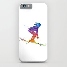 Girl Skiing 2 Colorful Watercolor Winter Sports Art iPhone Case