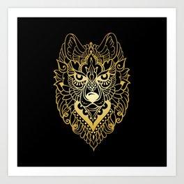 Tribal ethnic wolf Art Print