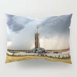 Nevermind the Weather - Oil Rig and Passing Storm in Oklahoma Pillow Sham