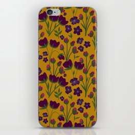 Purple and Gold Floral Seamless Illustration iPhone Skin