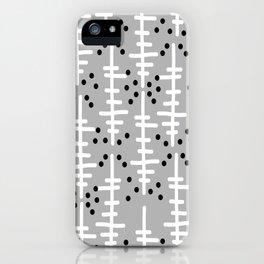 Helo - modern pattern design gift for college dorm decor trendy monochromatic grey neutral bold iPhone Case