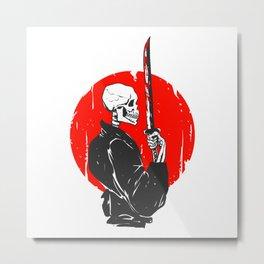 Samurai skull illustration -  black and white Metal Print