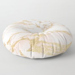 Blush pink abstract gold glitter marble Floor Pillow