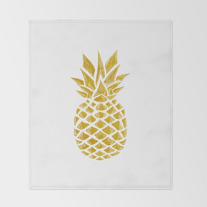 Gold Pineapple Throw Blanket