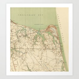 Vintage Map of Virginia Beach & Cape Henry (1918) Art Print