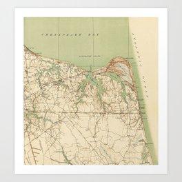 Vintage Map of Virginia Beach & Cape Henry (1918) Art Print