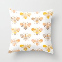 bees Throw Pillows featuring Bees by Heleen van Buul