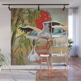 Stork and Baby Wall Mural