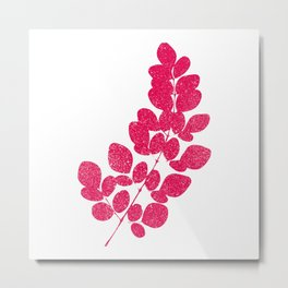 Pink Leaf Silhouette Art Print Metal Print