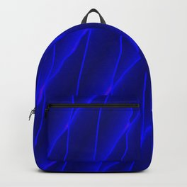 Slanting repetitive lines and rhombuses on luminous blue with intersection of glare. Backpack