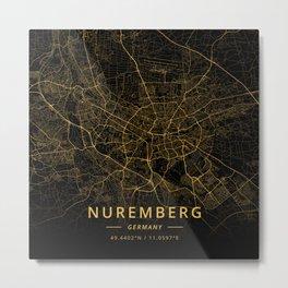 Nuremberg, Germany - Gold Metal Print