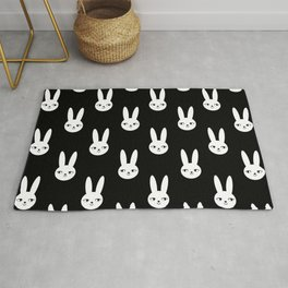 Bunny Rabbit black and white spring cute character illustration nursery kids minimal floral crown Rug