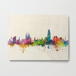 Barcelona Spain Skyline Cityscape Metal Print