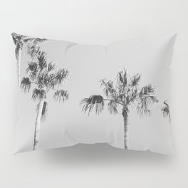 Black Palms // Monotone Gray Beach Photography Vintage Palm Tree Surfer Vibes Home Decor Pillow Sham