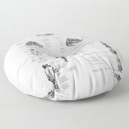 Apollo 11 Saturn V Command Module Blueprint in High Resolution (white) Floor Pillow
