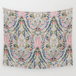Pink Blue Green Leaf Flower Paisley Wall Tapestry