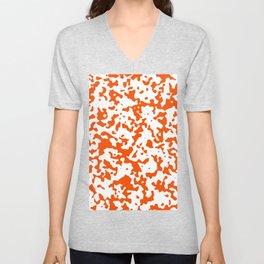 Spots - White and Dark Orange Unisex V-Neck
