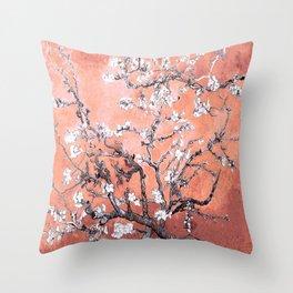 Van Gogh Almond Blossoms : Deep Peach Throw Pillow