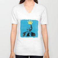 mandela V-neck T-shirts featuring King Mandela by César Ovalle