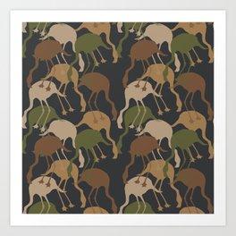 Flamingo Camouflage Pattern Art Print