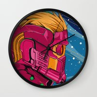 guardians of the galaxy Wall Clocks featuring Starlord Guardians of the galaxy by W.B.