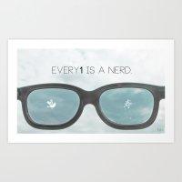 nerd Art Prints featuring nerd by Nivi