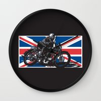 cafe racer Wall Clocks featuring NORTON TT RACER | DARK by Ernie Young