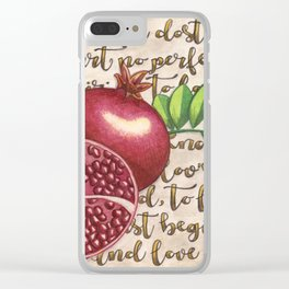 Pomegranate, Love Anew, Persephone, fruit art, love poem, food art, rebirth, fertility goddess Clear iPhone Case