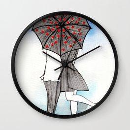 Kiss under Umbrella Wall Clock
