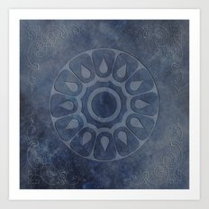 midnight blue stone throw pattern texture Art Print