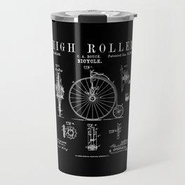 Bicycle High Roller Old Vintage Patent Drawing Print Travel Mug