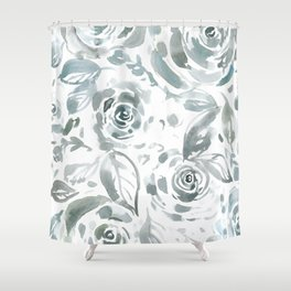 Evelyn Gray Floral Shower Curtain