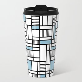 Map Lines Sky Blue Travel Mug