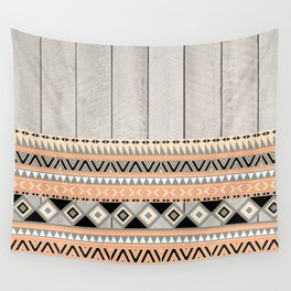 Peach Coral Andes Abstract Aztec Tribal Gray Wood Wall Tapestry