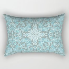 Soft Teal Blue & Grey hand drawn floral pattern Rectangular Pillow
