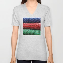 Modern, Trendy, Sophisticated Pattern in Blue, Red & Green Unisex V-Neck