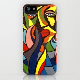 African Traditional Tribal Women Abstract Art Canvas Painting Series - 3 iPhone Case