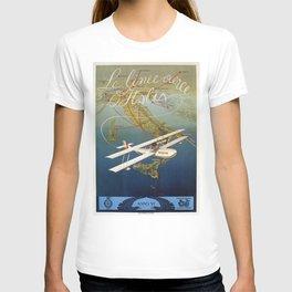 Vintage 1920s Island plane shuttle Italian travel T-shirt
