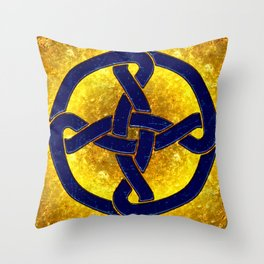 Celtic Knot Blue & Gold Throw Pillow