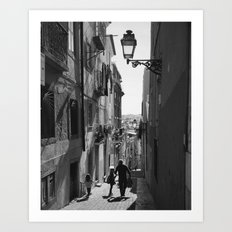 Narrow street of Lisbon in black and white Art Print