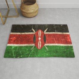 Vintage Aged and Scratched Kenyan Flag Rug