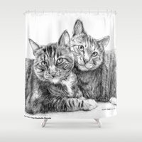 arya stark Shower Curtains featuring Arya and Dante portrait by Rushelle Kucala Art